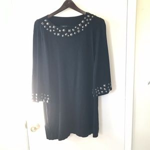 Embellished Black and Bronze Hardware Knit Dress